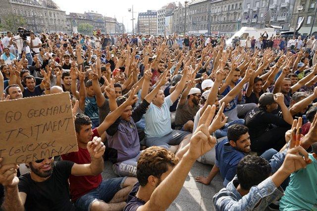 Syrian refugees strike in front of Budapest Keleti railway station. Refugee crisis. Budapest, Hungary, Central Europe, 3 September 2015.