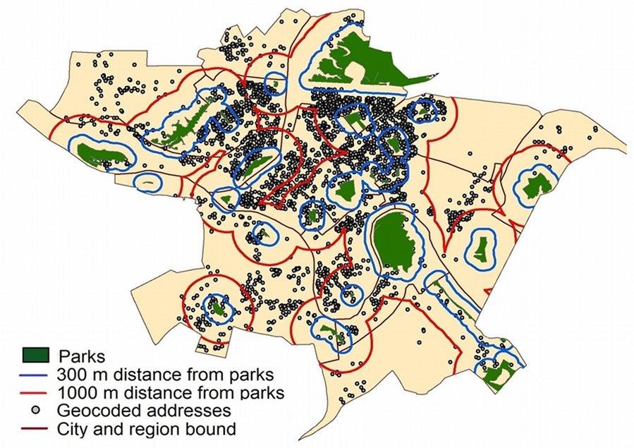 Gyvenamosios vietos atstumai iki miestu zaliuju erdviu