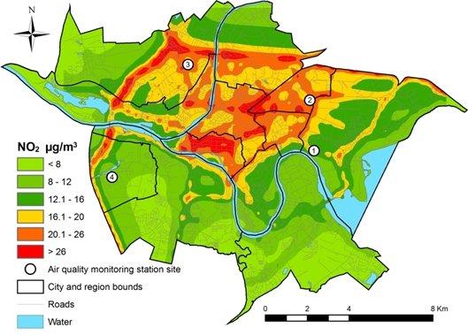 Sumodeliuota oro tarsa azoto dioksidu kauno mieste